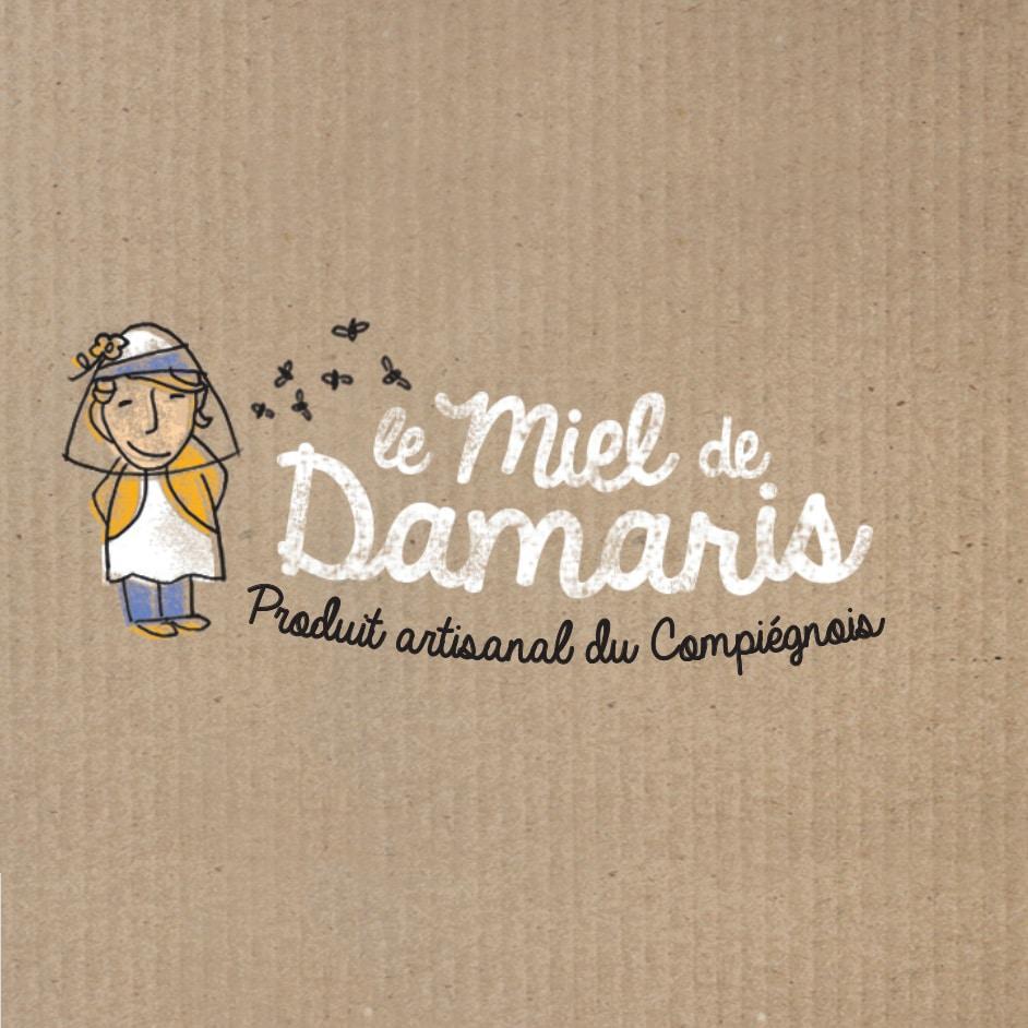 logo design le miel de Damaris, produit artisanal du compiégnois