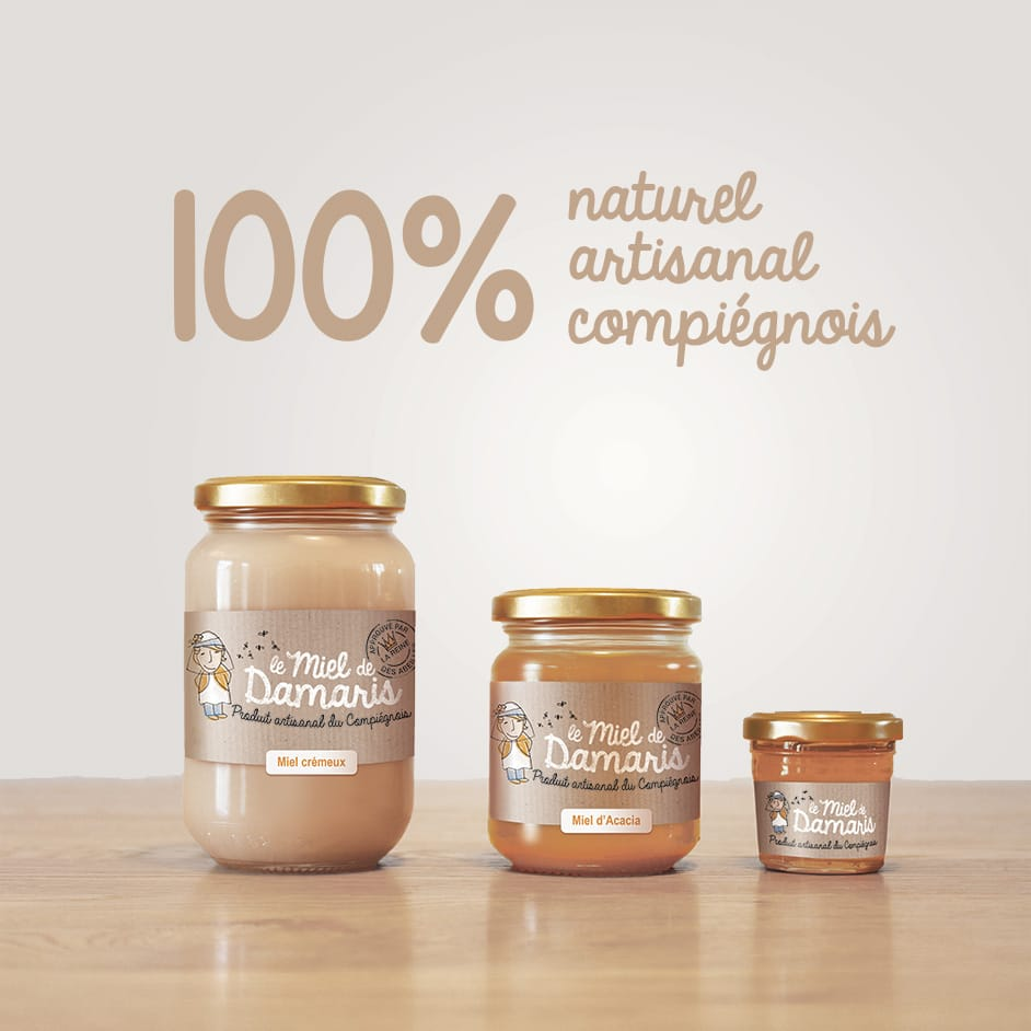 Packaging design - le miel de Damaris -100% naturel artisanal compiégnois