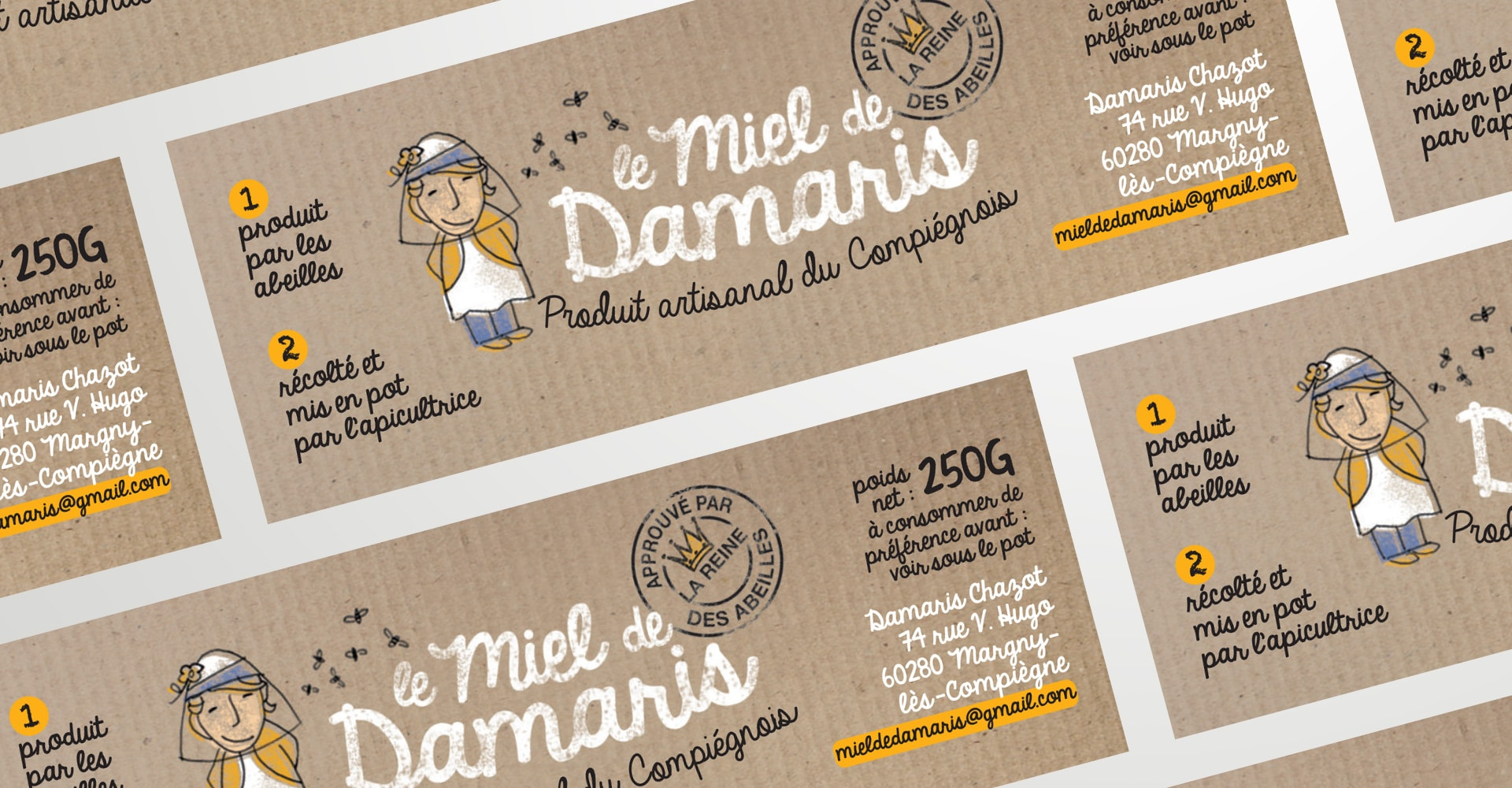 packaging design - le miel de Damaris