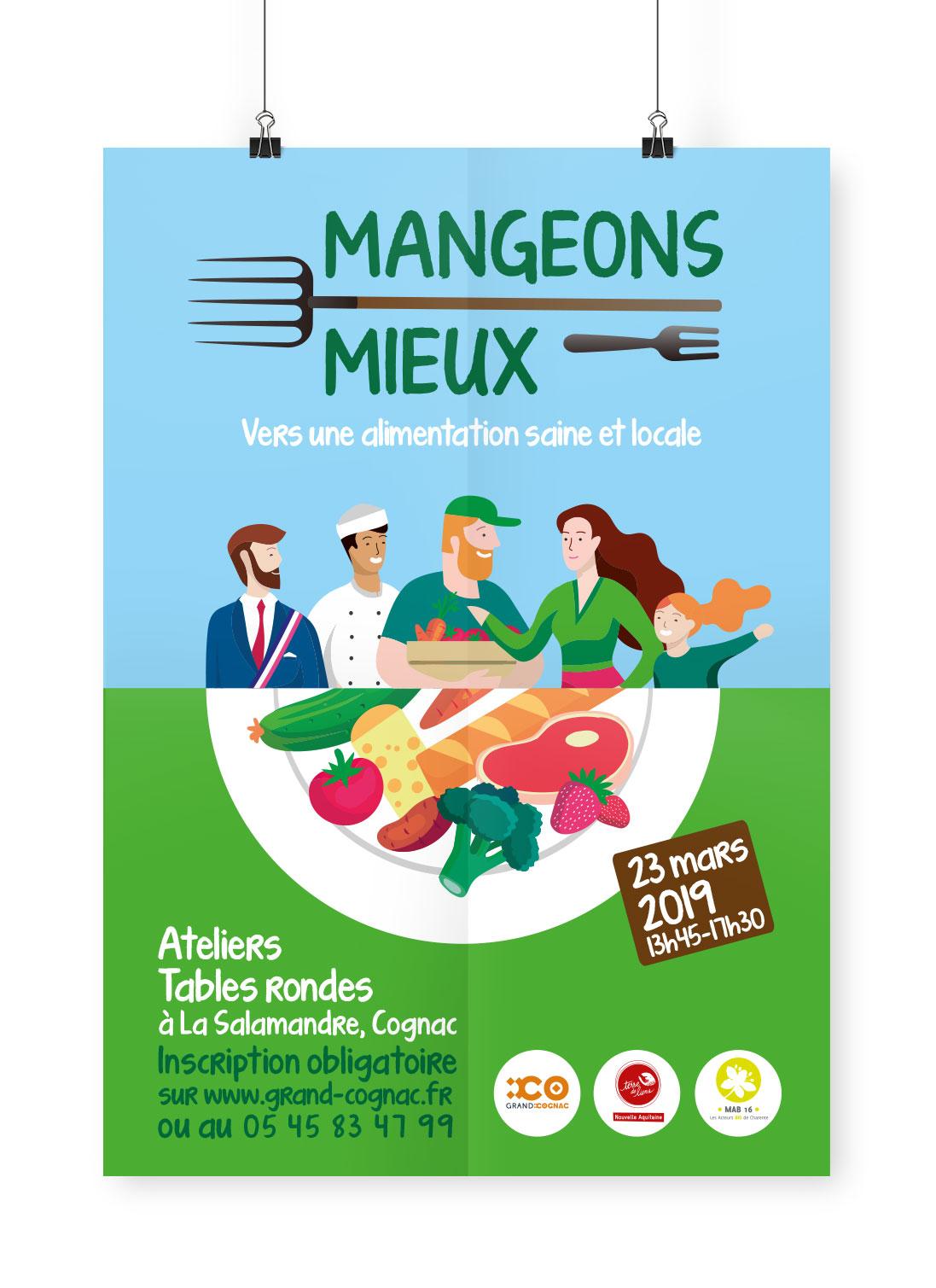 design d'affiche collectif mangeons mieux pour mettre du bio dans les cantines - alimentation et production locale
