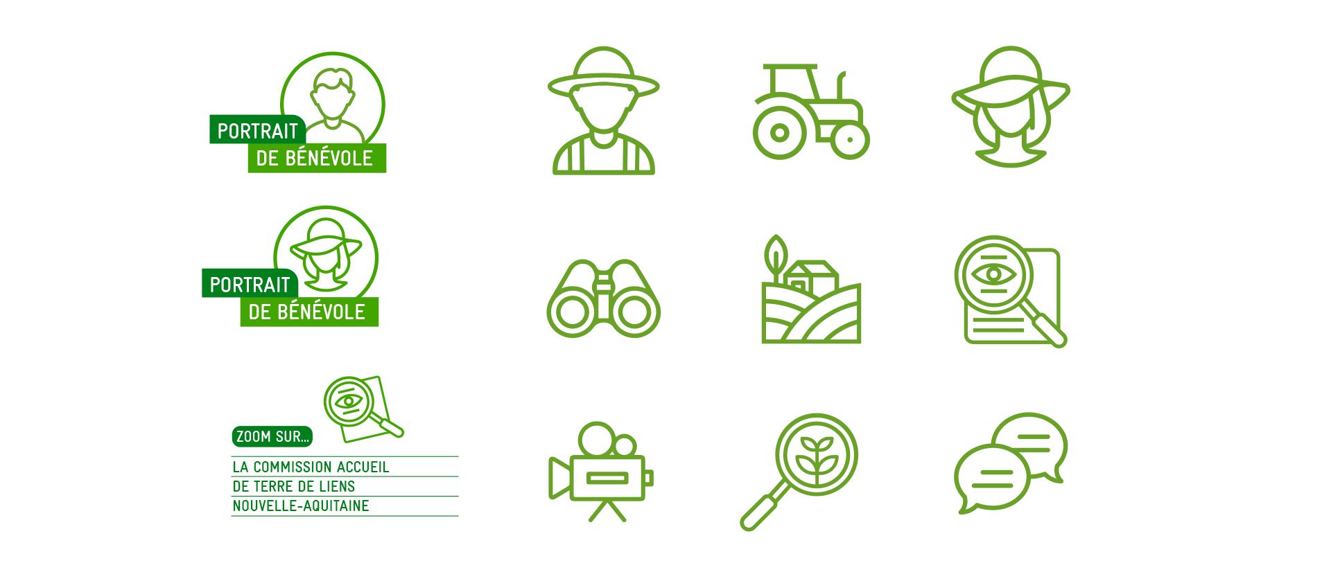 pictogrammes charte graphique - écologie, agriculture responsable